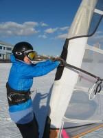 Зимний виндсерфинг в Москве, в Строгино